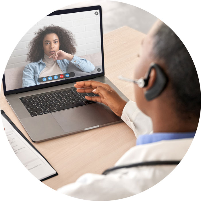 A health care provider and patient meet virtually using telehealth services accessed by computer.