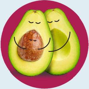 """A """"pregnant"""" avocado and her partner lovingly hold onto the avocado pit, which represents a pregnancy."""